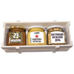 Средний ящик с мёдом и орехами к 23 февраля