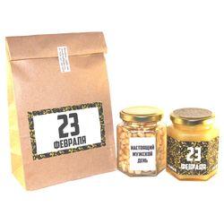 Подарочный набор с мёдом и орехами к 23 февраля №1