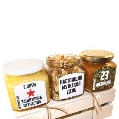 Большой ящик с мёдом и орехами к 23 февраля фото 4
