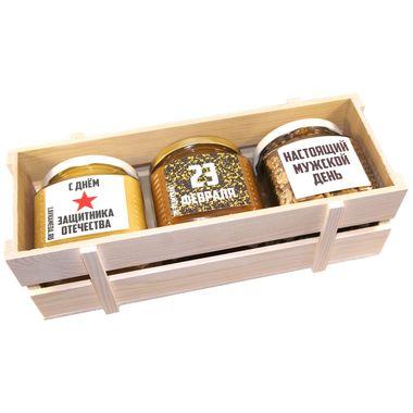 Большой ящик с мёдом и орехами к 23 февраля фото 3
