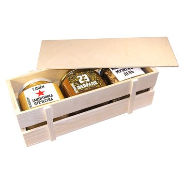 Большой ящик с мёдом и орехами к 23 февраля фото 2