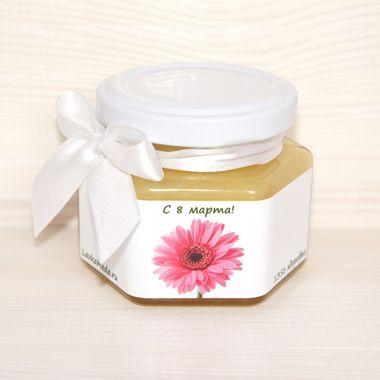 Подарочная баночка мёда к 8 марта №1
